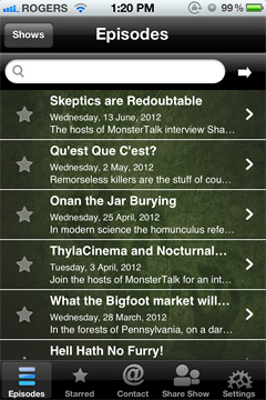 MonsterTalk Podcast App (iPhone screenshot)