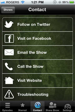 MonsterTalk Podcast App (iPhone screenshot)