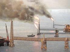 Drawing of Oil platform burning