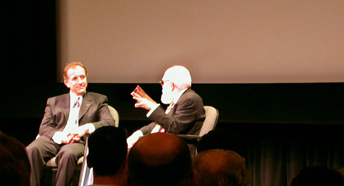 photo of Michael Shermer and James Randi