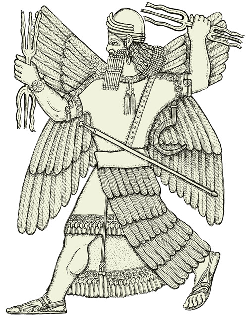 the god<br /> Ninurat has four wings