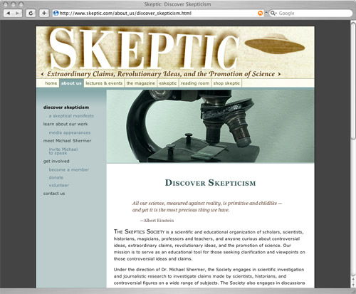 Skeptic website screenshot