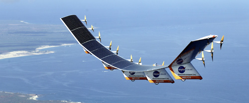 The giant 247-foot, lightweight, solar-powered Helios, developed by AeroVironment, flew from Paris to England.