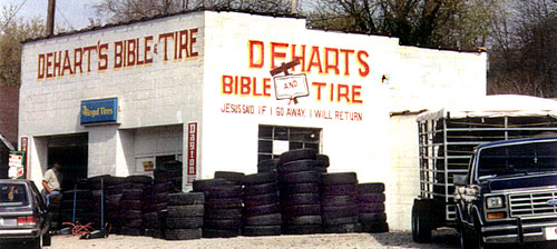 a Kentucky landmark — DeHart's Bible & Tire