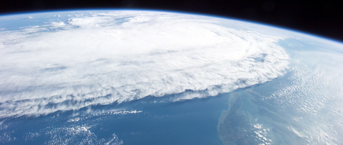 Hurricane Ophelia on September 10, 2005, captured by the Expedition 11 crew aboard the International Space Station. Courtesy of NASA