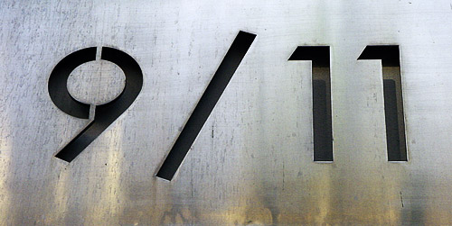 9/11 sign carved out of metal