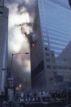 Figure 4. The image of WTC 7 commonly shown by the 9/11<br /> Truth Movement, showing apparently minimal damage to the building