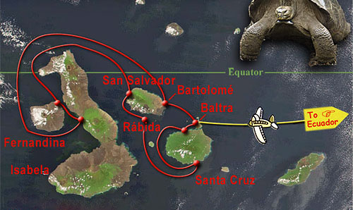 map marking the route the Galapagos tour will take