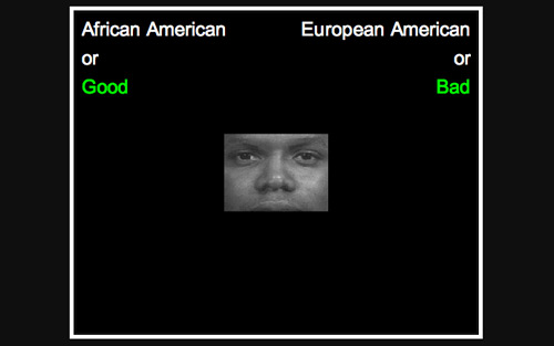 screenshot from Harvard University's Racial Implicit Association Test (IAT)