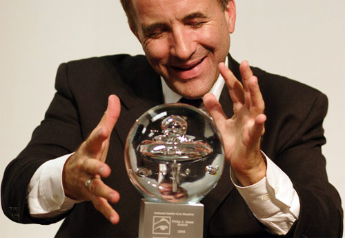 Shermer with his Philip J. Klass Award