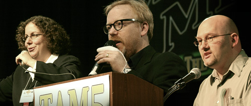 (left to right) Lori Lipman Brown, Adam Savage, and Benjamin Radford (photographs by David Patton, composite by William Bull)