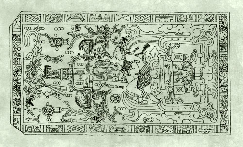 a 'Mayan rocket' (according to Erich von Daniken).  This illustration actually depicts the Mayan ruler Pacal within a composition of standard Mayan iconography, including a bird, a god, and a cross
