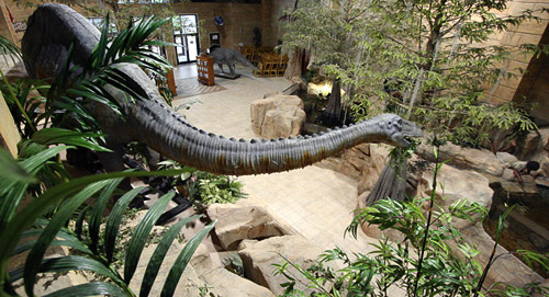 The Creation Museum lobby with 40-foot-long animatronic sauropod dinosaur