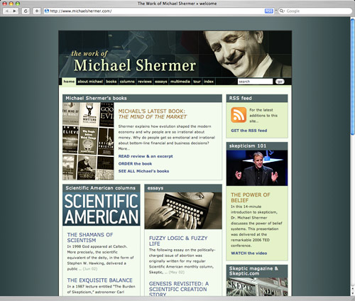 website screenshot from www.michaelshermer.com