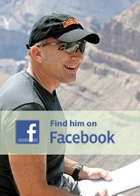 Facebook logo over photo of Michael Shermer