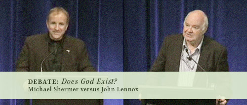 Michael Shermer (left) and John Lennox (right)