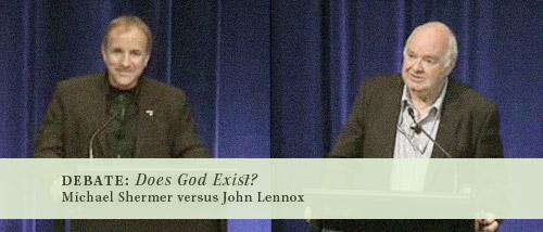 Michael Shermer (left) and John Lennox (right)