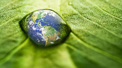 photo of Earth in a water droplet