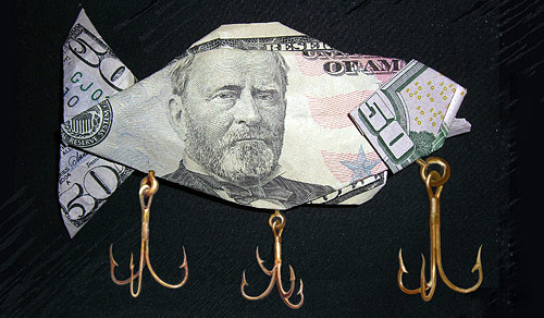 $50 bill origami fish with hooks