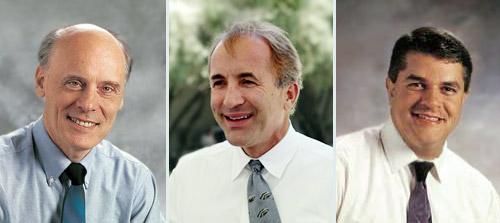 Hugh Ross (left), Michael Shermer (centre), Fazale Rana (right)