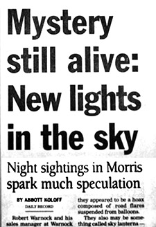 Mystery still alive: New lights in the sky. Night sightings in Morris spark speculation