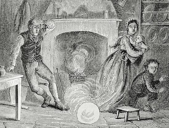Ball Lightning -- Globe of Fire Descending into a Room, in The Aerial World, by Dr. G. Hartwig, London, 1886. P. 267. Library Call Number QC863.4 H33 1886. Image ID: libr0524, Treasures of the NOAA Library Collection. This image is in the public domain due to its age.
