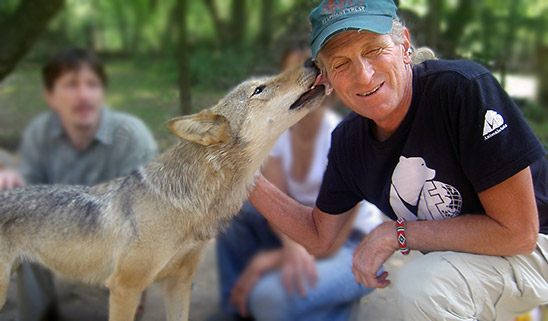 Dr. Mark Bekoff and wolf