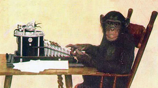 Copyright 1907 by the New York Zoological Society. Image via Wikimedia Commons: http://commons.wikimedia.org/wiki/File:Monkey-typing.jpg