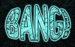 colourized detail of book cover (BANG! The Universe Verse)