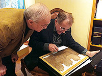 Joe Nickell and Michael Shermer examine a page from an ancient Egyptian Book of the Dead