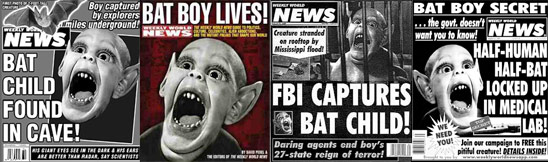 compliation of Weekly World News covers with Bat Boy on them