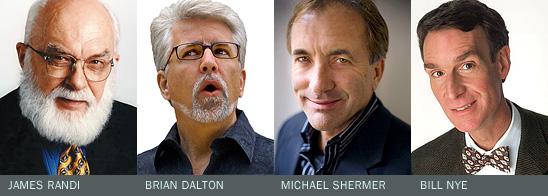 (left to right) Michael Shermer, Brian Dalton, James Randi and Bill Nye