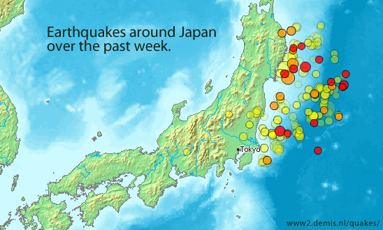 earthquakes around Japan over the last 7 days