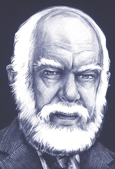 James Randi (illustration by Pat Linse, copyright 1992)