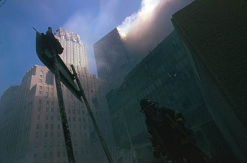 WTC7 on fire (photo creidt: Anonymous. Courtesy of the Prints and Photographs Division. Library of Congress.