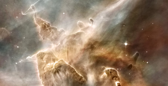 Star-forming region in the Carina Nebula (credit for Hubble image: NASA, ESA, N. Smith (University of California, Berkeley), and The Hubble Heritage Team (STScI/AURA) http://hubblesite.org/gallery/wallpaper/pr2007016h/