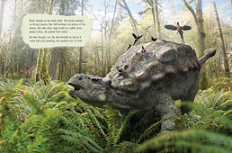 Two-page spread from Ankylosaur Attack!, by Daniel Loxton. Text and illustrations © 2011 Daniel Loxton