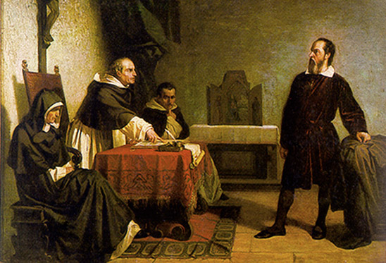 Galileo facing the Roman Inquisition, painting by Cristiano Banti (1857). This is a faithful photographic reproduction of an original two-dimensional work of art. This work is in the public domain in the United States, and those countries with a copyright.