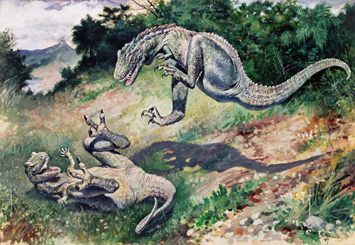 Knight's Dryptosaurs do battle (copyright AMNH)