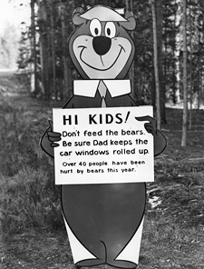 Yogi Bear with Don't Feed the Bears message (from the National Archives and Records Administration. This image is in the public domain, provided to Wikfile://localhost/Users/William/Skeptic/eSkeptic/eSkeptic%202012/eskeptic%202012-03-28/resources/MonsterTalk/Jacobs%20Creature/imedia Commons by the National Archives and Records Administration as part of a cooperation project. The National Archives and Records Administration provides images depicting American and global history which are public domain or licensed under a free license. It can be found here: http://commons.wikimedia.org/w/index.php?title=File:Yogi_Bear_with_%22don%27t_feed_the_bears%22_message_-_NARA_-_286013.tif&page=1