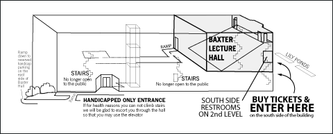 Baxter Hall Ticket and Entrance diagram