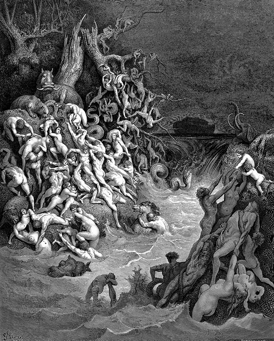 The World Destroyed by Water (illustrated by Gustave Dore). Dore Bible illustrations can be found at http://www.creationism.org/images/