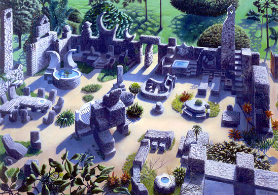A view of the Coral Castle with its various structures and vignettes.