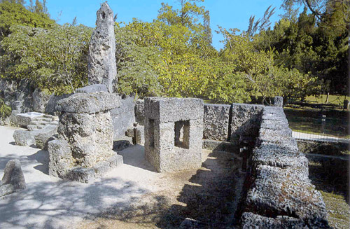 A corner of the Coral Castle showing for gossip and repentance. Leedskalnin had very fixed ideas on the teaching and raising of children, even though he never had any himself.