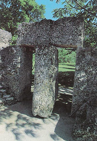 The nine-ton gate. Perhaps the most memorable of all of the elements of the Coral Castle since, in earlier days, it was reported that a three-year old child was able to rotate the gate with no difficulty. The secret of its functioning was only revealed ye