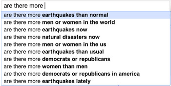 Google autofill reveals concern about number of earthquakes