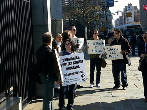 American Atheists rallies on Thursday (April 25) outside The Embassy of Bangladesh.