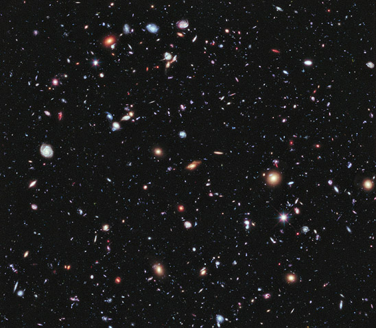 NASA Hubble Space Telescope's eXtreme Deep Field (XDF) photo, assembled from 10 years of  photographs taken of a patch of sky at the center of the original Hubble Ultra Deep Field.