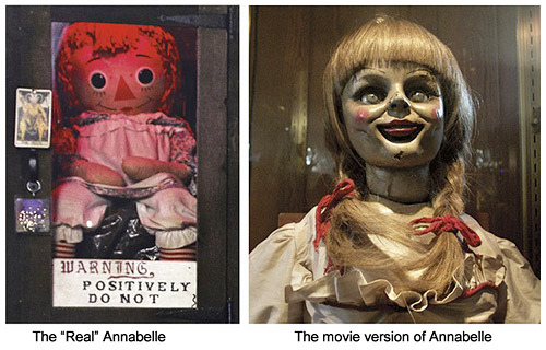 The actual Annabelle demon doll (left) and the movie version (right)