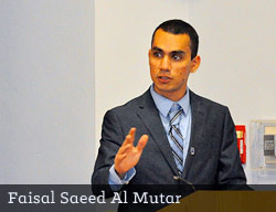 Faisal Saeed Al Mutar speaking